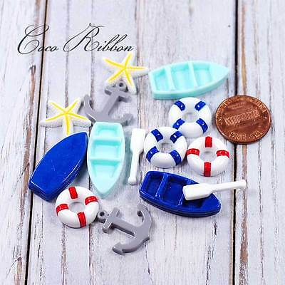 14pc Mix Miniature Set of Anchor Boat Sail Flatback Resin Cabochon 15~28mm D26