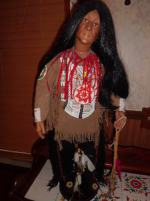 """Timeless native american 30"""" tall porcelain doll"""