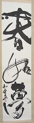 """Vintage signed/stamped Chinese scroll painting calligraphy 17x77"""""""