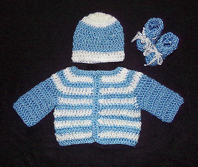 crochet  blue baby boy sweater booties and hat handmade 3-6 months