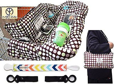 Kids Shopping Cart Cover 2-in-1 Zip Up High Chair Baby Toddler Stroller Hooks