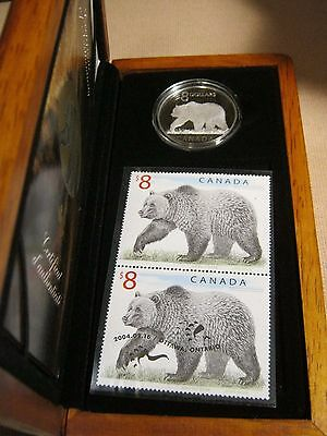 2004 Canada $8 Proof Silver Coin & Stamp Set, The Great Grizzly Bear, Box & COA