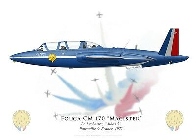 Print Fouga Magister, Patrouille de France 1977, French Air Force (par G.Marie)