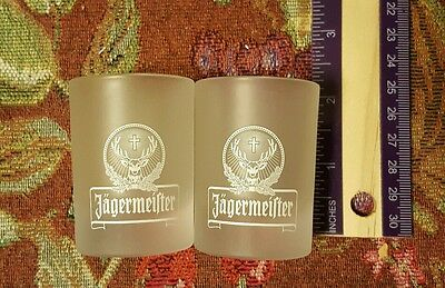 Lot of 2 Jagermeister Etched Frosted Shot Glasses 2 CL