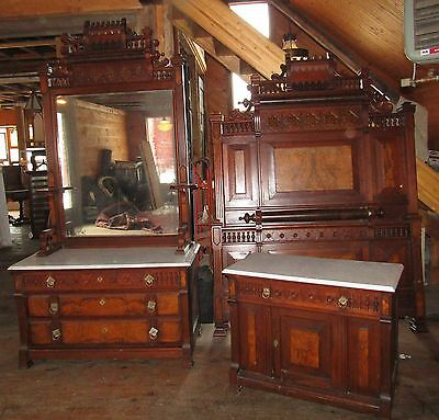 Victorian Aesthetic Movemt Style Marble Top Bedroom Set