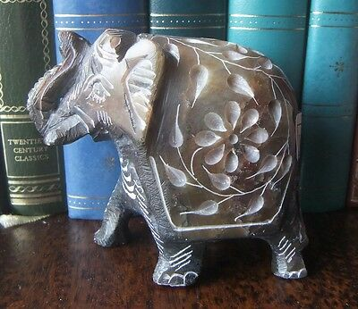 Soapstone Elephant Handcarved Handmade Blue Brown Heavy 7.5cm tall Good Luck