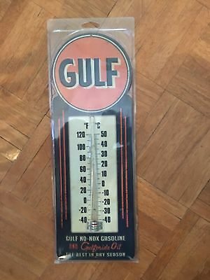 gulf oil thermometer Vintage Look Man Cave Garage Shop No -box Gasoline Oil