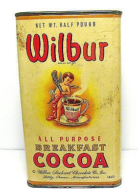 Vintage Wilbur Breakfast Cocoa Tin Lititz, Pa Full Paper Label Half Pound