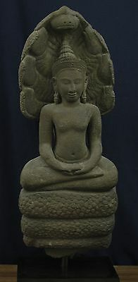 Khmer Buddha sheltered by the Naga Muchalinda, 12/13th Century