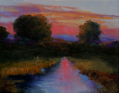 Texas Country River Sunset Original Art Impressionism Landscape Oil Painting