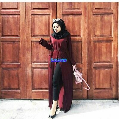 Turkish modest stylish trendy  Open Front �� cotton maxi Dress  New 12/14/16