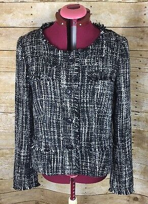 Small Womens A Pea in the Pod Tweed Jacket Coat Career Business Black White
