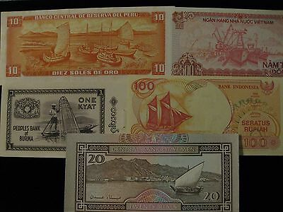 Ships and Boats  Banknote Set  paper money 5 note world starter set very nice!