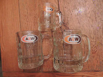 Vintage A&W Root Beer Mugs Glass US Logo Oval Logo
