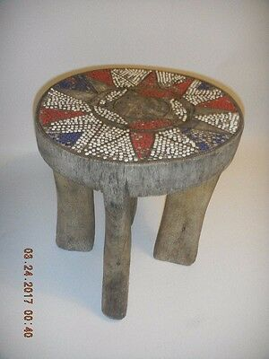old African tribal carved small stool beaded seat