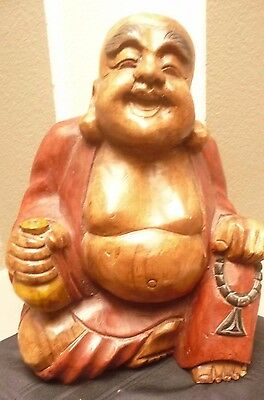 """Vintage Chinese Hand Carved/Painted Wood Statue Smiling BUDDHA 13.5"""" Tall Solid"""