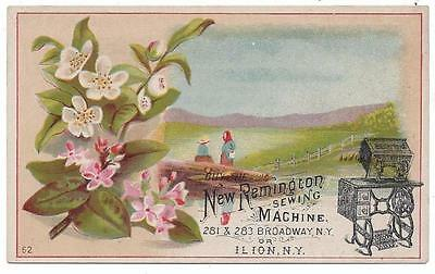 Remington Sewing Machine Co. - Trade Card - Pink Flowers, Pasture - Ilion, NY