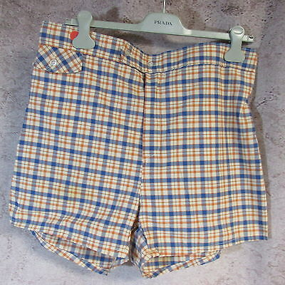 BW-Vintage 60s-70s plaid poly cotton bathing suit shorts with liner sz 40 M/L