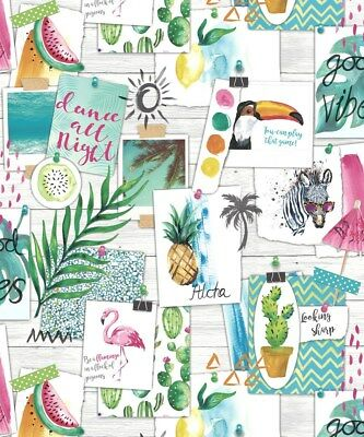 Holden Decor Aloha White Multi Wallpaper 12150 Hawaii Tropical Animals Photos