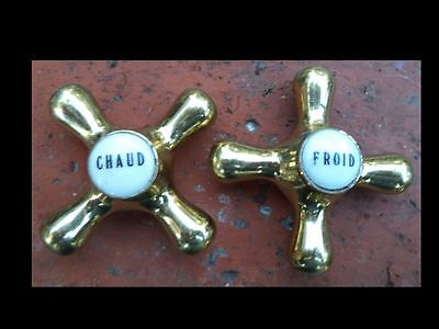 Vintage French Brass Faucet Handles