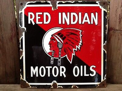Vintage Red Indian Motor Oil & Gas Porcelain Sign McColl-Frontenac Heavy Steel