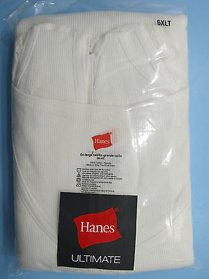 Hanes Ultimate Big and Tall Mens Tagless TANK Undershirt White Cotton 3-Pack NIP
