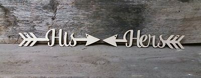 HIS AND HERS / Arrow Hanger Direction Sign Decoration Plaque Party Accessory