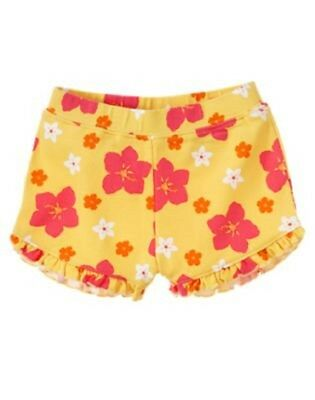 NEW GYMBOREE girls summer yellow floral ruffle short size 6-12 months