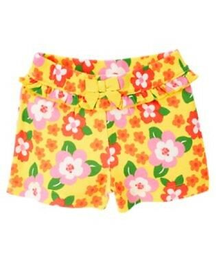 NEW GYMBOREE girls summer yellow flower ruffle bow short size 18-24 months