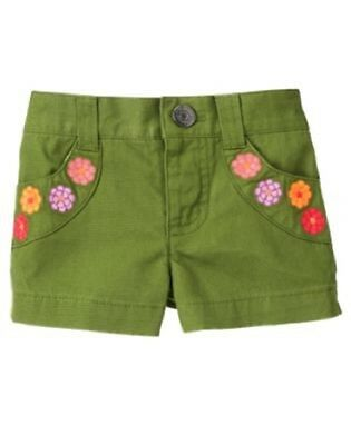 NEW GYMBOREE girls summer meadow green flower pocket short size 3-6 months
