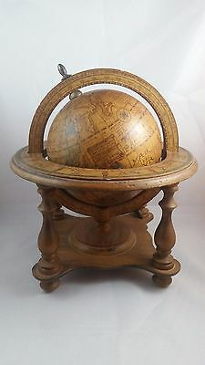 Vintage Olde World Globe Spinning Zodiac Made in Italy Table Top Wood