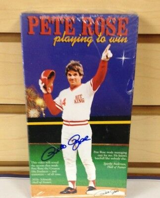 """PETE ROSE Cinninati Reds Signed Video """"Playing to Win"""" with COA"""