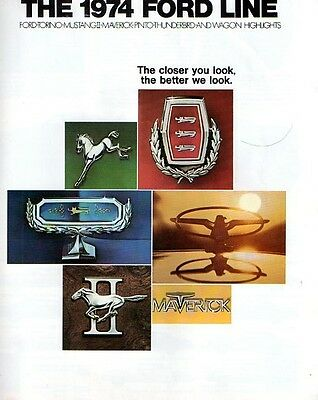 1974 Ford full line short brochure 8 pages G- condition