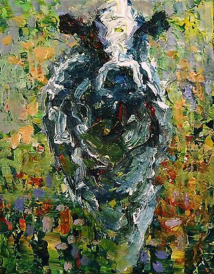 ELLE RAINES 8 x 10 COW PAINTING ABSTRACT FARM ANIMAL MODERN IMPRESSIONISM