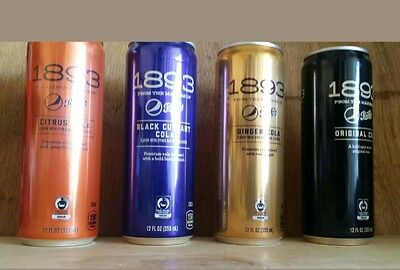 ↗ FULL ALL 4 FLAVORS ↖ Pepsi Cola ☆☆ 1893 ALUMINUM 12 OUNCE CANS ☆☆