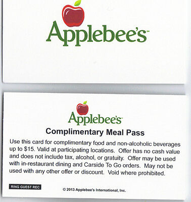Applebee's Meal Pass (5)/Certificate/$75 Value