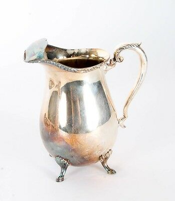 Vintage Silver Plate Crescent Water Pitcher with Legs