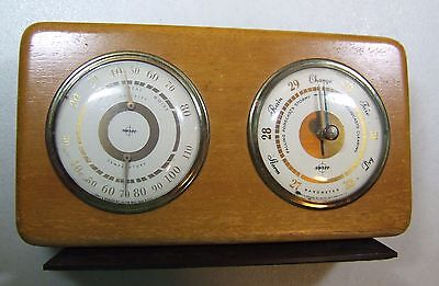 Vintage Swift and Anderson Temperature, Humidity,& Barometer in Wooden Display