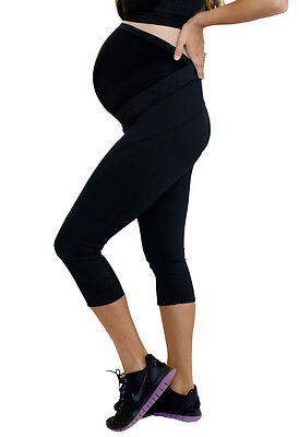 Mumberry Maternity Active Workout Capris with Belly Band Support - M