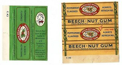 Vintage 1930's Rare (2) American Chewing Gum Wrappers Beech-Nut Peppermint