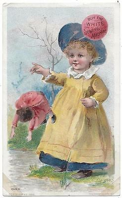 White Sewing Machine Co. - Trade Card - Dropping the Doll - The Knapp Co. Lith