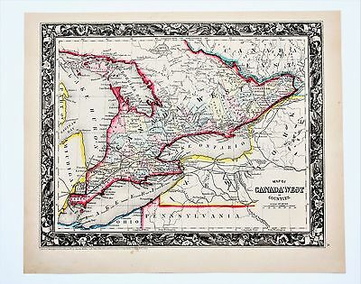 1860 West Canada Map Lake Erie Ontario Railroads Counties Townships ORIGINAL