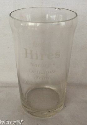 Early 1900's Hires Root Beer Soda Fountain Glass Etched with Syrup Line