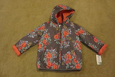 Carter's Brand Adorable Toddler Girls Quilted Floral Jacket 4T Or 5-6 Nwt!