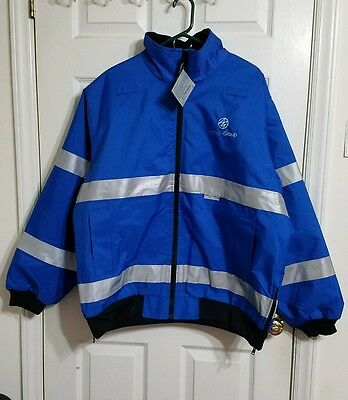 NWT Charles River Apparel Men's Long Sleeve Polyester Reflective Blue Jacket XL