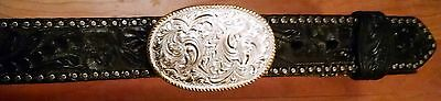 CRUMRINE JEWELERS Engraved Silver & Gold Belt Buckle & Black Tooled Leather Belt
