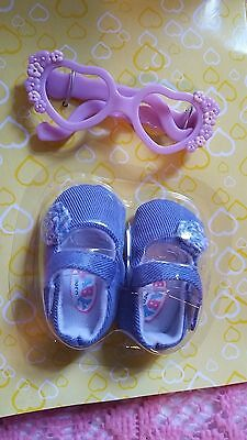 2006 ZAPF Baby Born Purple Heart Pair GLASSES & SHOES AUTHENTIC DOLL Accessories