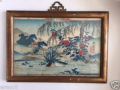 Original Shiba Rinsai Japanese Woodblock Print Ducks And Various Flowers