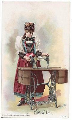 Singer Sewing Costumes of the World Trade Card - J. Ottmann Lith - Vaud