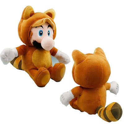 Super Mario Bros Tanooki Mario Soft Plush Stuffed Long Tail Kid Gift Doll 7in